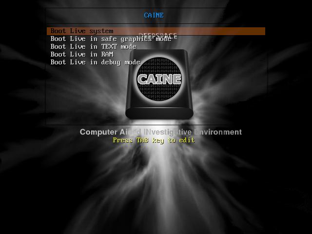 CAINE 7 boot menu