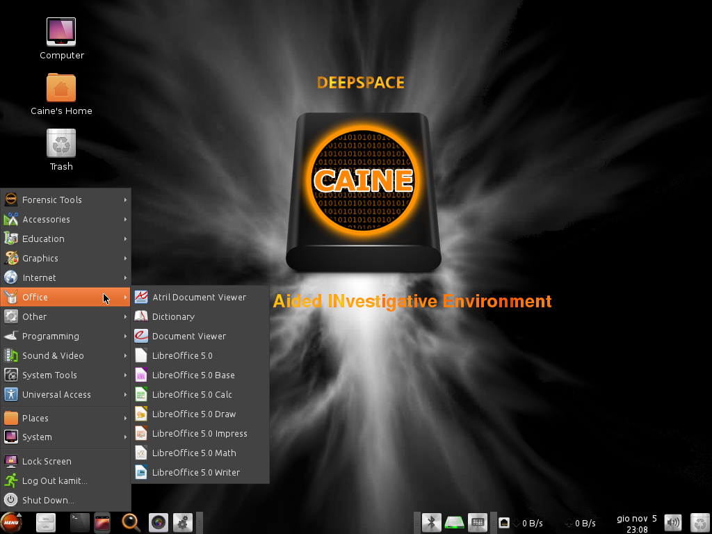 LibreOffice 5 apps on CAINE 7