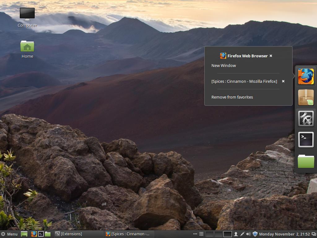 Cinnamon 2.8 desktop dock