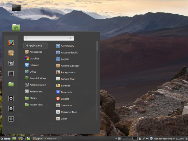 Cinnamon 2.8 desktop menu