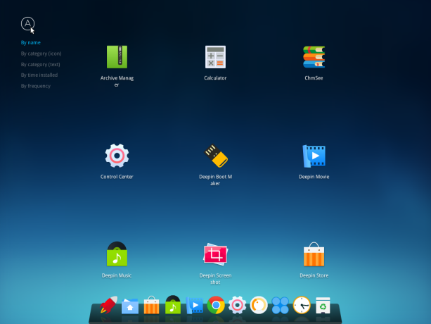 Deepin desktop application launcher