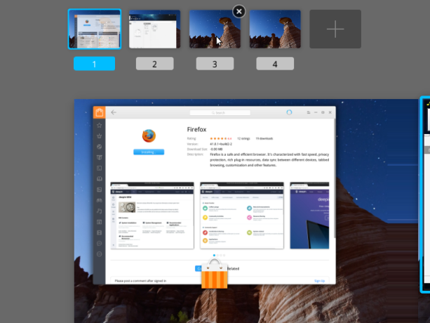 Deepin desktop workspaces