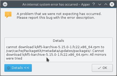 Fedora 23 KDE Apper error