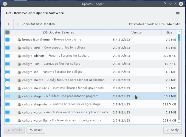 Fedora 23 Apper package updates