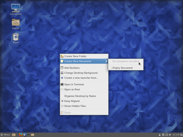 Fedora 23 Cinnamon desktop context menu