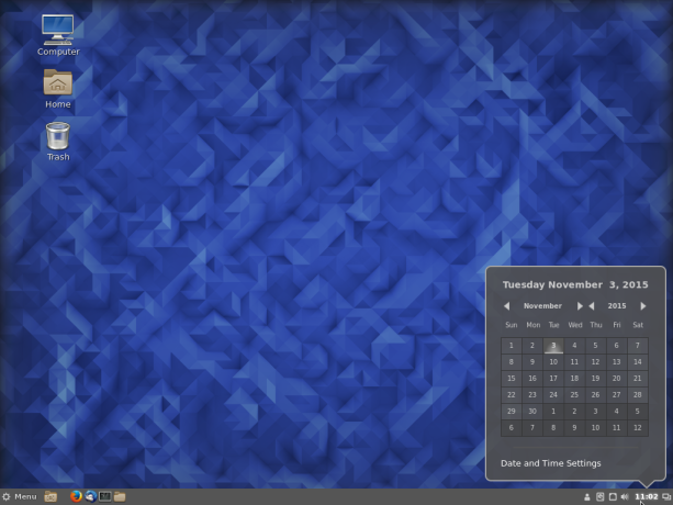 Fedora 23 Cinnamon panel calendar