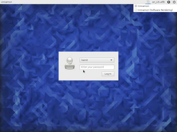 Fedora 23 Cinnamon login window
