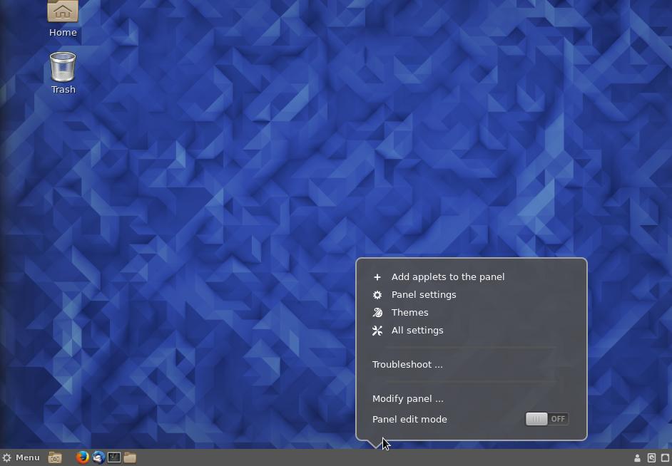 Fedora 23 Cinnamon panel context menu