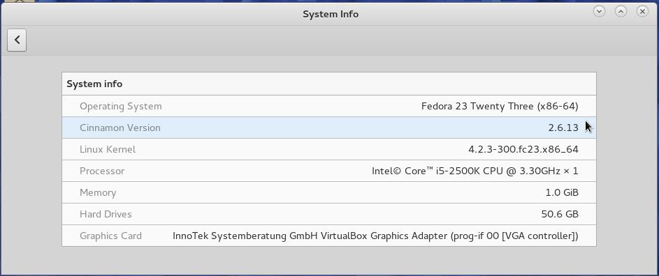 Fedora 23 Cinnamon system information