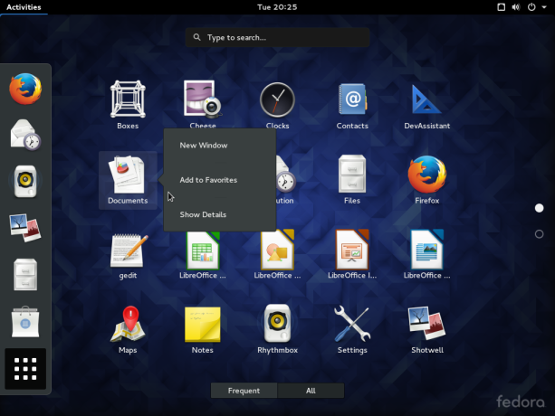 Fedora 23 GNOME desktop app view