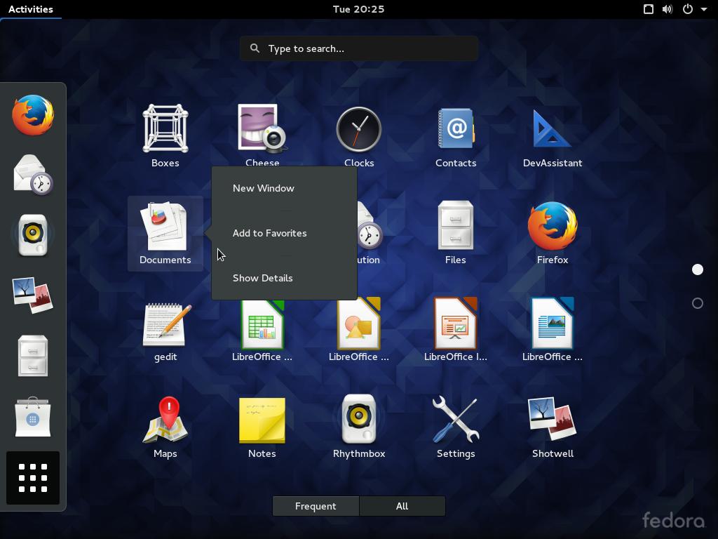 Fedora 23 GNOME desktop app view