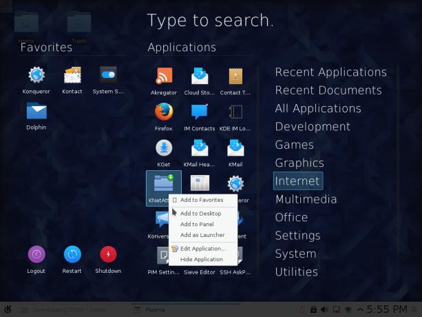 Fedora 23 KDE app dashboard