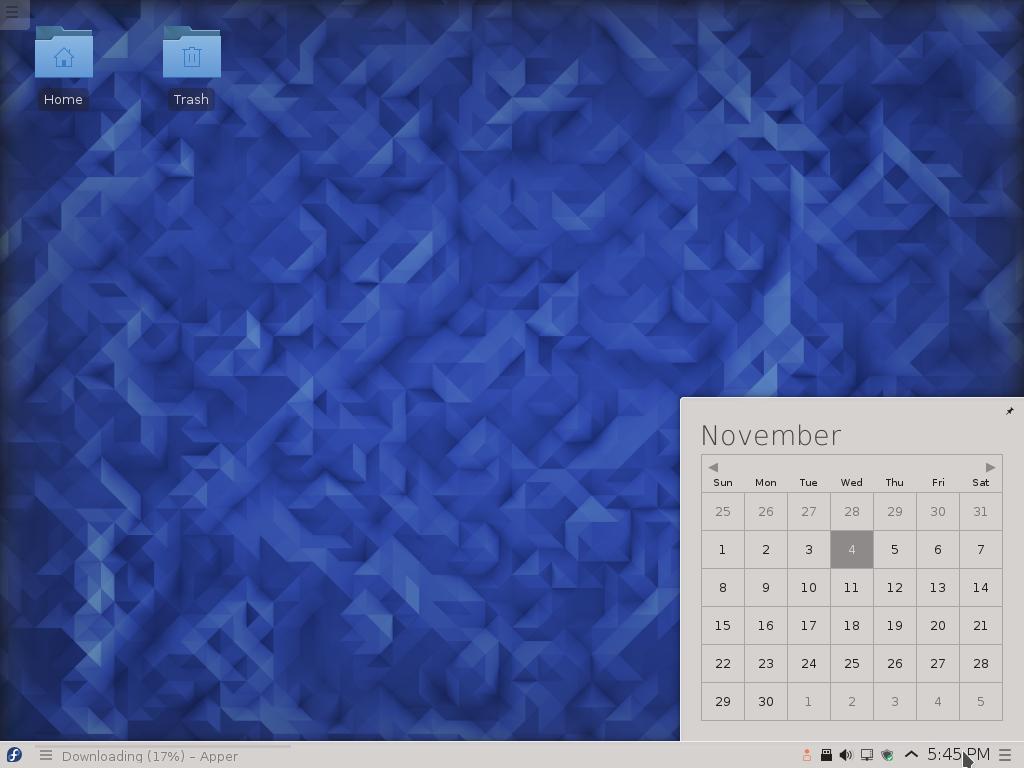 Fedora 23 KDE panel calendar