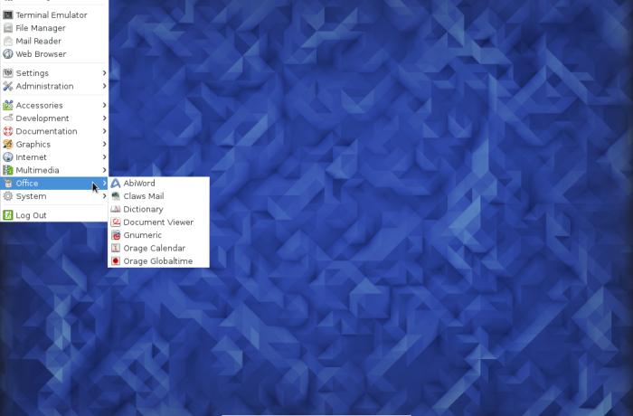 Figure : Default menu on Fedora 23 Xfce