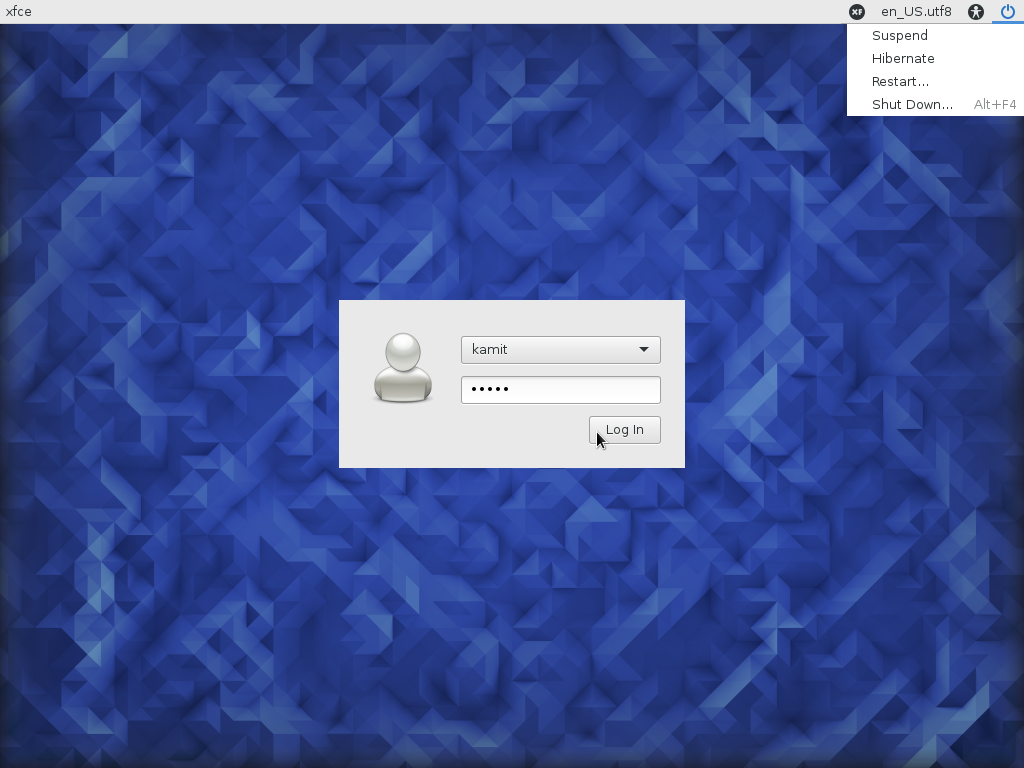 Fedora 23 Xfce login window