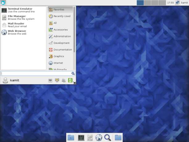 Fedora 23 Xfce Whisker menu