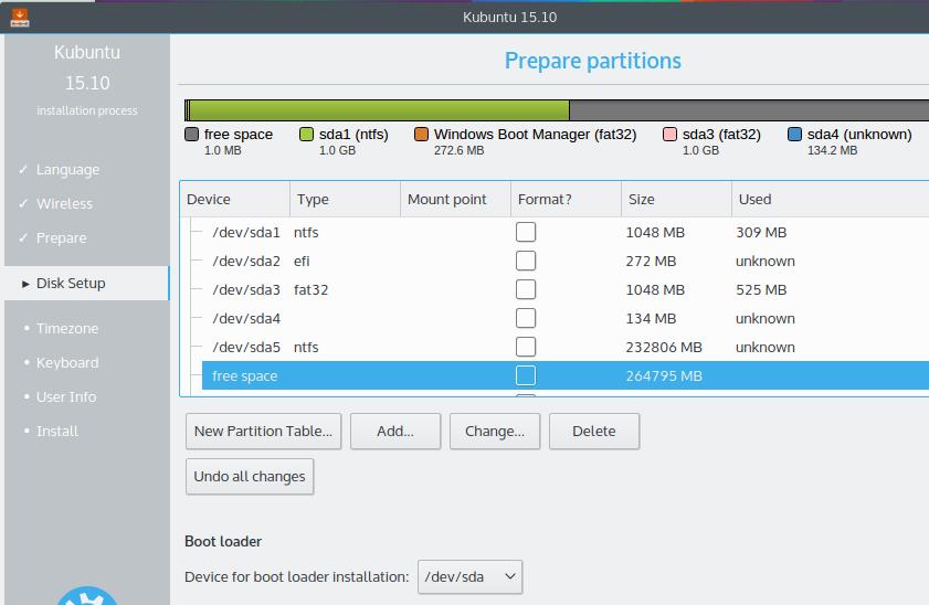 Kubuntu 15.10 manual partitioning tool