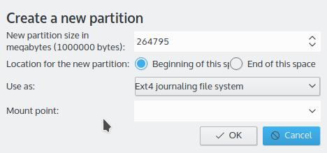 Kubuntu 15.10 partition editor