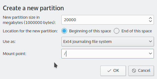 Creating root partition Kubuntu 15.10