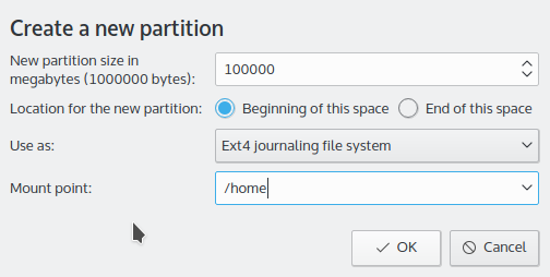 Creating home partition Kubuntu 15.10