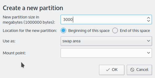 Creating swap partition Kubuntu 15.10