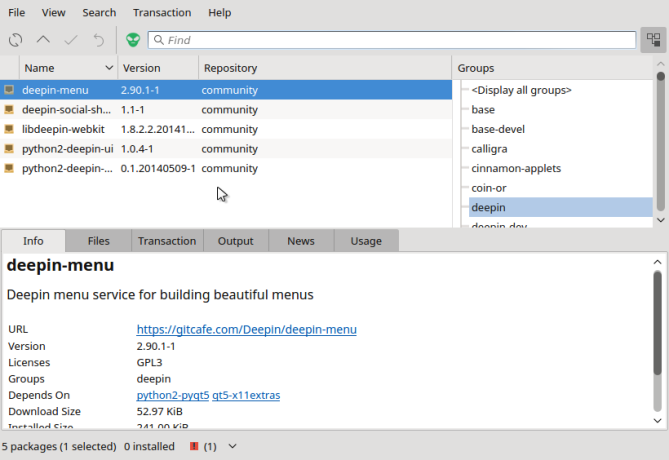 Octopi graphical package manager