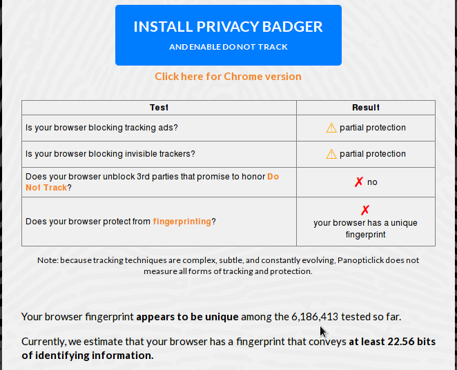 Browser fingerprinting no cookies