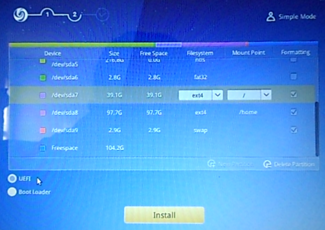 Deepin 15 EFI System Partition