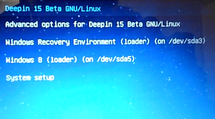 Deepin 15 GRUB menu