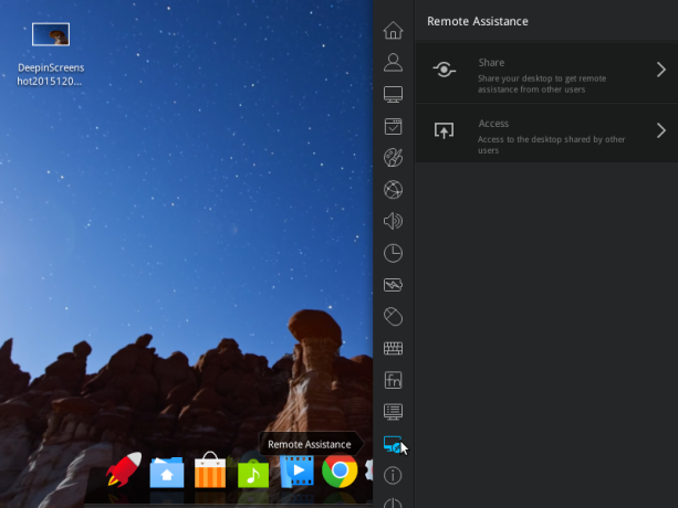 Chrome Remote Desktop is used on Deepin 15 for remote assistance