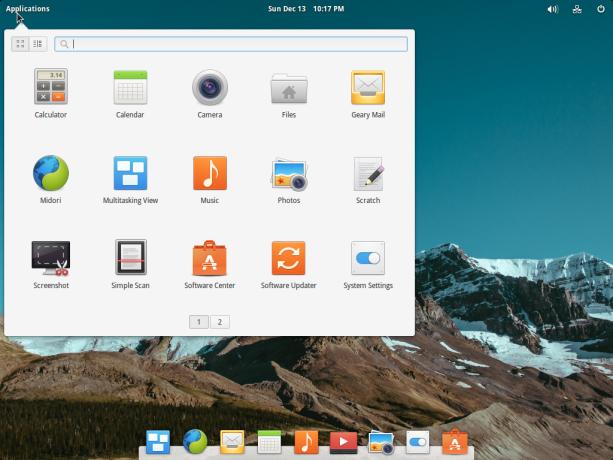 elementary OS Freya 0.3.2 app menu