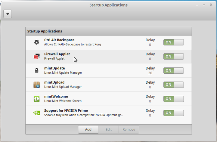 startup applications Linux Mint 17.3