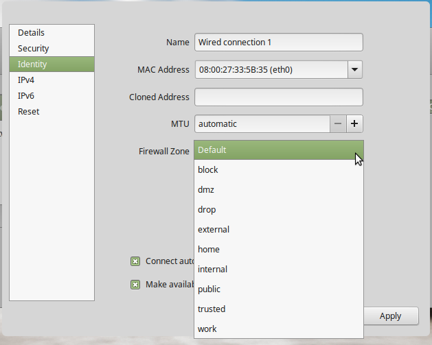 FirewallD network zones on Linux Mint 17.3