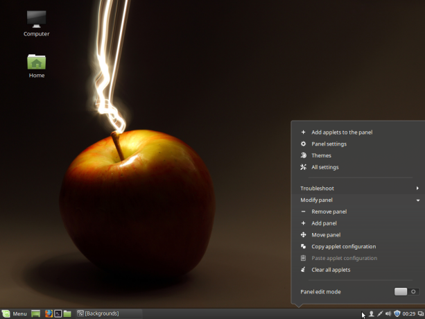 Panel menu Linux Mint 17.3 Cinnamon