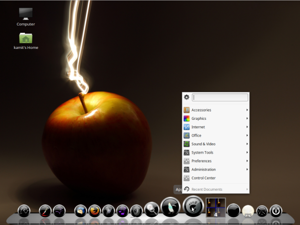 Figure 7 Application menu of Linux Mint 17.3 MATE viewed from Cairo,Dock
