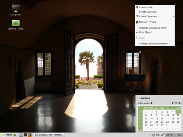 Linux Mint 17.3 MATE panel calendar