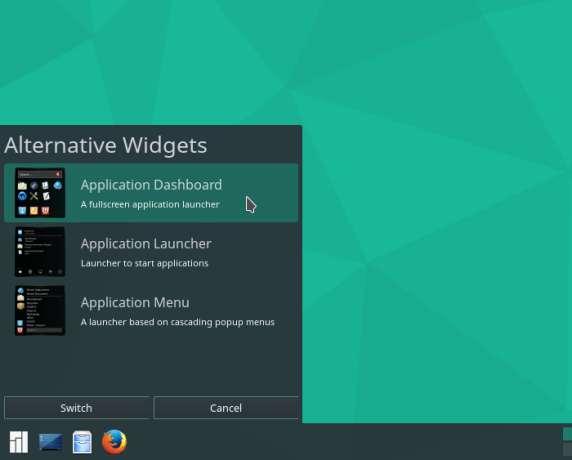 Manjaro 15.12 KDE menu options
