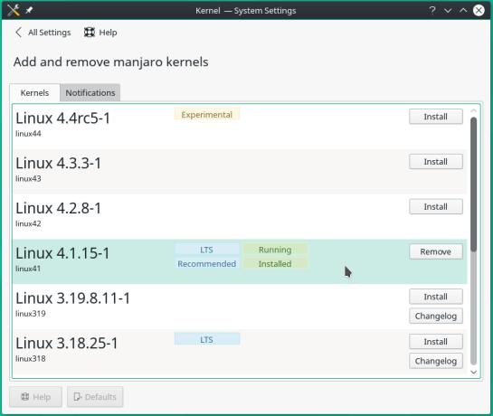 Manjaro 15.12 kernel manager