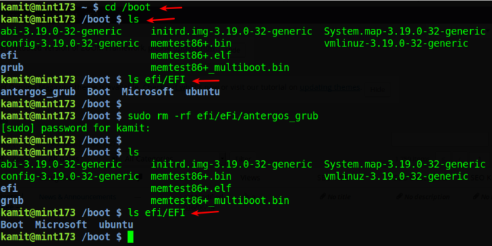 How to keep your Boot EFI partition clean of old Linux bootloader folders
