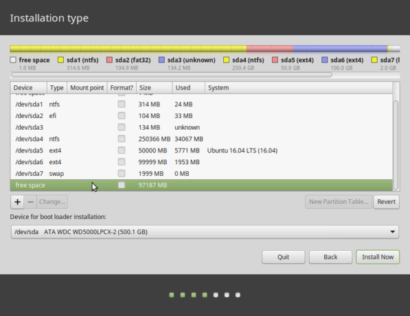 Linux Mint 17.3 manual partition