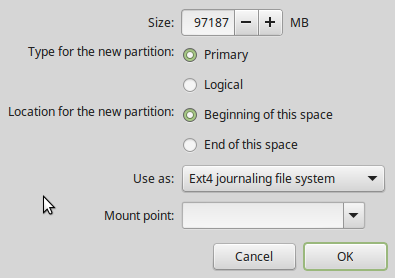 Linux Mint 17.3 partition editor