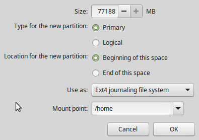 Linux Mint 17.3 home partition