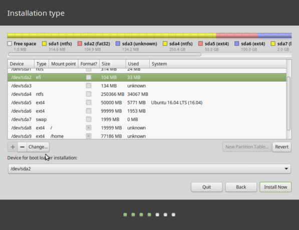 Linux Mint 17.3 partitions