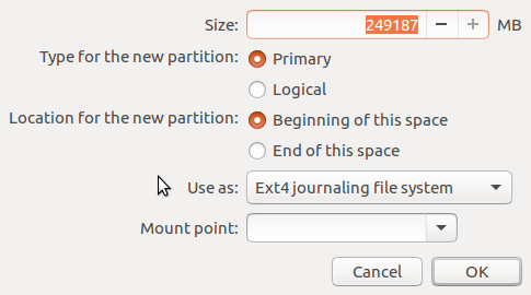 Ubuntu 16.10 partition editor