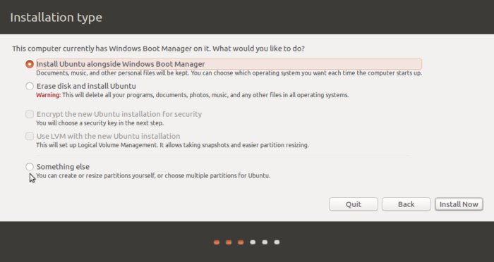 Partition methods of Ubuntu 16.10 installer