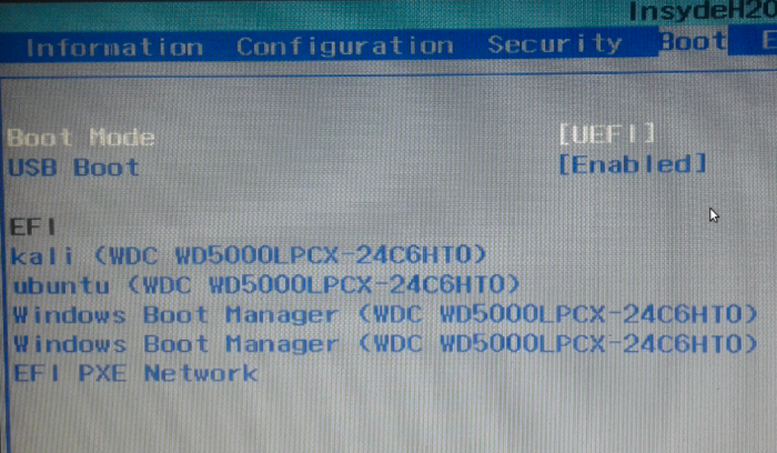 Figure 15: Boot manager options on a computer with UEFI firmware