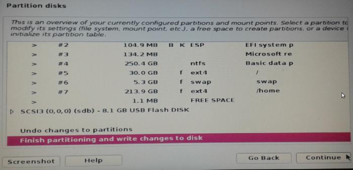 Dual-boot partitions Kali Linux 2016.2