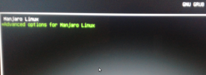GRUB menu of Manjaro Linux