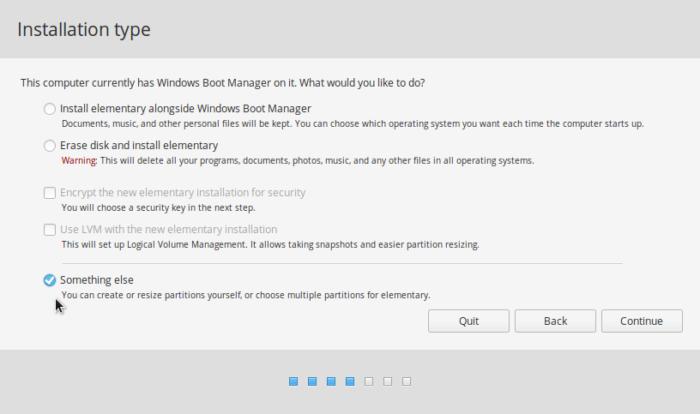 elementary OS installer Something else