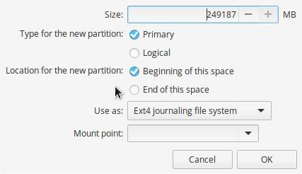 elementary OS partition editor